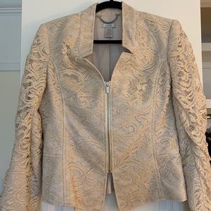 Cache Lace Pink Champagne Zip Up Jacket